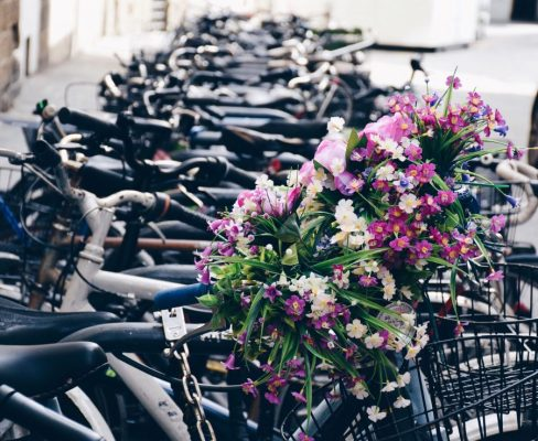 a-lineup-of-parked-bicycles-on-a-city-street-and-o-7HMTDMK